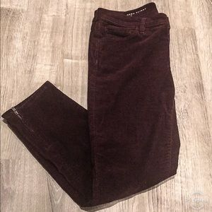 Ann Taylor Loft Burgundy Corduroy Ankle Zip Pants